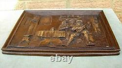 Antique Vintage Tavern Plaque Relief Panel Wood / Resin Carving Wine Bar Pub