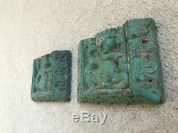 Antique Vintage Wooden Carved Indian Green Ganesh Panels set of 2
