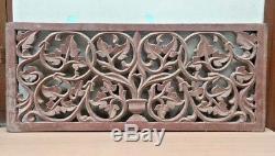Antique Wall Hanging Wooden Panel Vintage Hand Floral Carved Home Decor Estate