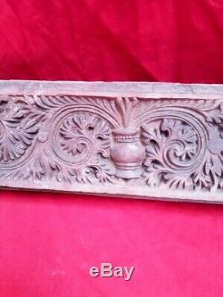 Antique Wall Panel Flower Wooden Floral Carved Door Beam Corbel Decor Estate UK