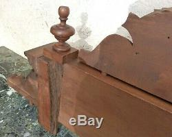 Antique Wood Carved Walnut Pediment Corniche Crest Molding French Finial Panel