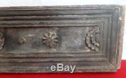 Antique Wooden Floral Wall Panel 18th Century Door Window Beam Vintage Plaque