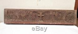 Antique Wooden Hand carved Church Wall Panel Cross Vintage Christian panel Rare