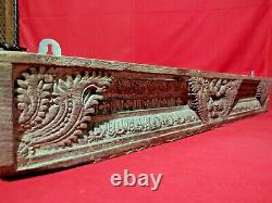 Antique Wooden Wall Panel Ancient Floral Carved Vintage Home Decor Door Top Beam
