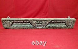 Antique Wooden Wall Panel Ancient Floral Yali Carved Home Decor Door Top Beam