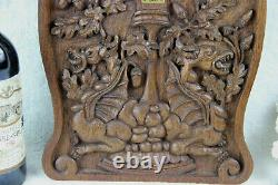 Antique black forest wood carved gothic dragons fruits wall plaque panel