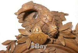 Antique carved wood eagle relief sculpture wall panel art carving plaque Italy