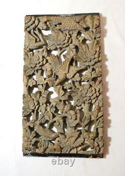 Antique hand carved Chinese wood relief figural reticulated wall panel sculpture