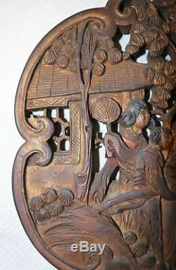 Antique ornate hand carved wood Chinese figural wall relief panel sculpture