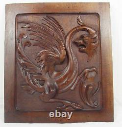 Antique panel carved griffin griffon manticore chimeras lion n°2