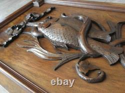 Antique wall panel WOOD Hand Carved trophy fishing fish BLACK FOREST Frame old
