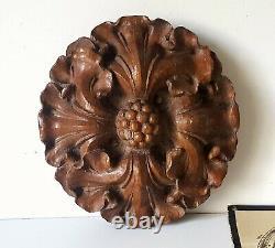 Antique wood rosette applique Wooden round carving Door Furniture Paneling 6.69