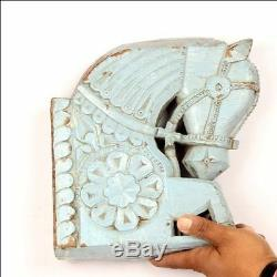 Antique wooden Hand Carved Horse Face Miniature Wall Hanging Decorative Panel