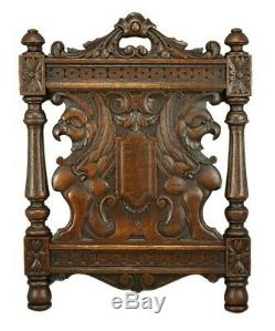 Architectural 19th. C French Carved Oak Wood Wall Panel of Griffin Chimera 3