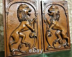 Architectural salvage Solid pair antique french Scroll lion wood carving panel