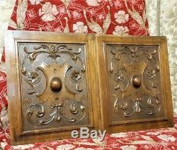 Architectural salvage pair flower scroll leaves panel Antique french carving