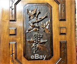 Architectural salvage pair grapes wine panel Antique french wood carving decor