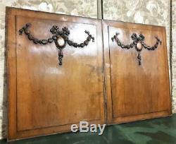 Architectural salvage pair medaillon garland panel Antique french wood carving