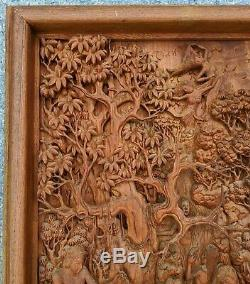 Asian Antique EROTICA 3D Pierce Carved Mahagony SCULPTURE PANEL Hedonistic NUDES
