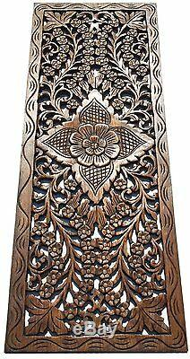 Asian Carved Wood Wall Decor Panel. Floral Wood Wall Art. Brown 35.5x13.5