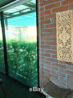 Asian Carved Wood Wall Decor Panel. Leaf Floral Wood Wall Art. Brown 35.5x13.5