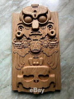 Aztec Mayan Wooden Wall Art Carved Wood Relief Panel Plaque Home Decoration