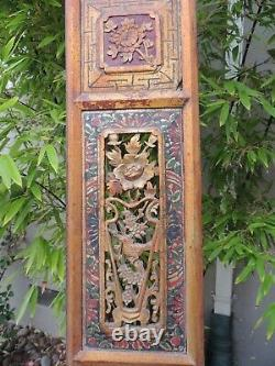 BF1. Antique Carved Gold Gilt Wood Panel with Bird and Flower Screen