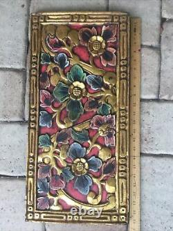 Bali Lotus architectural Relief Panels Hand carved wood wall Art Gold Red
