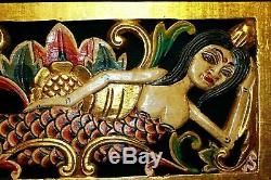 Bali Mermaid Relief Panel Hand carved wood Balinese Architectural Wall Art