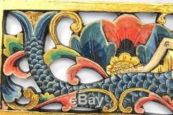Bali Mermaid Relief Wall sculpture Panel carved wood Balinese architectural Art