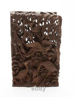 Balinese Carved 3D Wood Panel The Stork & Crab from the Tantri Kamandaka