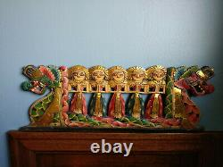 Balinese Dragon Boat Wood Panel Wall Art Hand Carved Bali Indonesia
