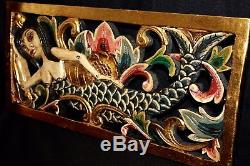 Balinese Mermaid Hand Carved Wood Architectural Panel Bali Wall Art left 24