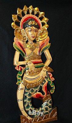 Balinese Mermaid Panel Dewi Sri Hand carved wood Bali Wall Art decor Set 2