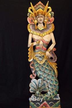 Balinese Mermaid Panel Goddess Hand carved wood Bali folk Wall architectural Art