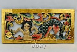 Balinese Mermaid Wall Sculpture Panel Hand Carved Wood Architectural Bali art
