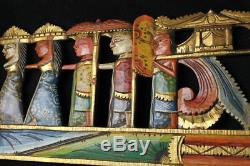 Balinese Panel Relief Carved Wood Melasti Ceremony Wall art architectural 38.5