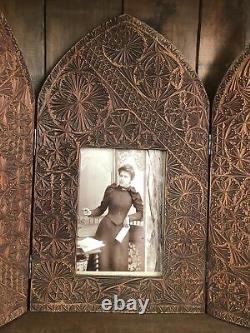 Beautifully Chip Carved C19th Antique Picture Frame Arch Front Panels circa 1880