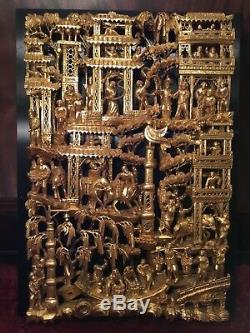 Big Antique Chinese Gilt Wood Carved Panel Village Life Scenes Wooden Carving #2