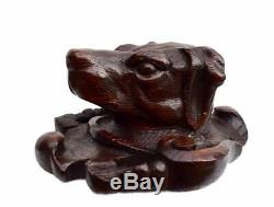 Black Forest Carved Wood Dog Head Wall Panel Blazon Wall Mounted Coat Hanger