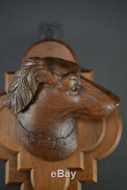 Black Forest Carved Wood Dog Head Wall Panel Wall Mounted Coat Hanger