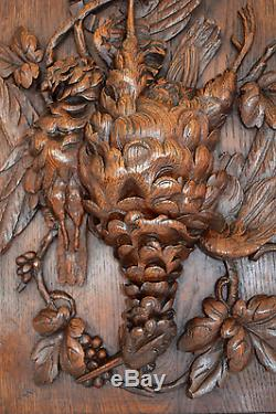 Black Forest Hand Carved Wood Panel Frame Hunt Themes Trophy Bird Wall Plaque