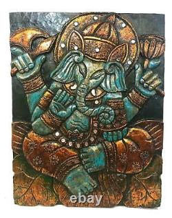 Blue Lotus Pose Ganesha Hindu God Wall Art Panel Hand Carved Wood Balinese art