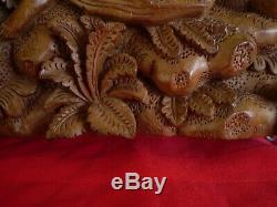 CARVED WOOD FIGURAL BALINESE BALI RELIEF WALL SCULPTURE PANEL ART Signed