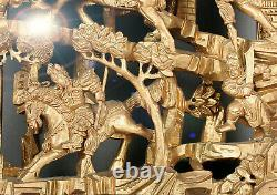 CHINESE CARVED GILT WOOD WALL PANEL LACQUER GILDED GOLD PLATE SHIELD 38 x 23