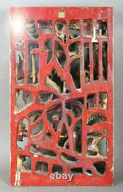 CHINESE CARVED GILT WOOD WALL PANEL LACQUER GILDED GOLD WARRIOR SHIELD 38 x 23