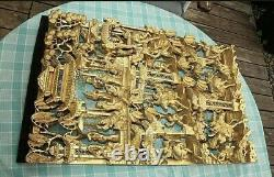 CHINESE CARVED GILT WOOD WALL PANEL LACQUER GILDED GOLD WARRIOR SHIELD 70 x 40