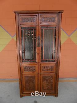 CHinese QING ELm wood Cabinet Armoire Panels of Carved Figures Calligraphy SALE