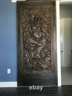 CUSTOM DOORS Indian Carving Door Panel Vintage Hand Carved Wood Sculpture 72x36
