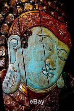 Calm Blue Buddha Panel Folding Screen hand Carved Wood Bali Wall art right 32